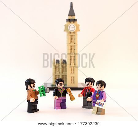 Colorado, USA - March 20, 2017: Studio shot of Lego minifigure Beatles with Big Ben in the background.