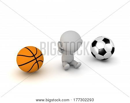 A 3D character that can't choose between basketball and a football. Isolated on white background.