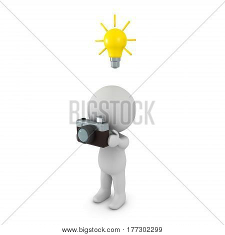 A 3D character holding a retro photo camera with a light bulb above his head