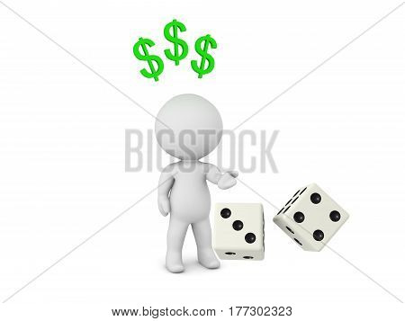 3D Character throwing a pair of dices thinking about making money