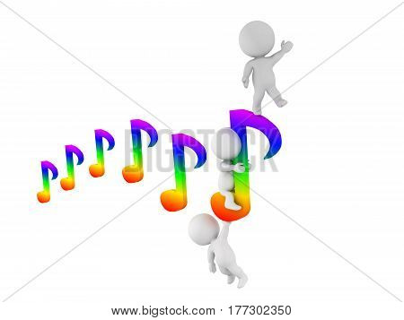 Three 3D characters holding on to a flying musical note. This image symbolizes the joy of music.