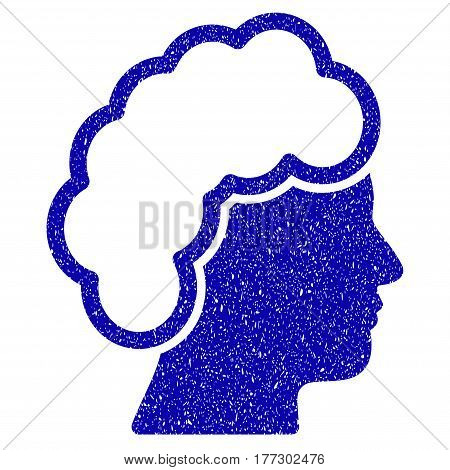 Grunge Blonde Profile rubber seal stamp watermark. Icon symbol with grunge design and dust texture. Unclean vector blue sticker.