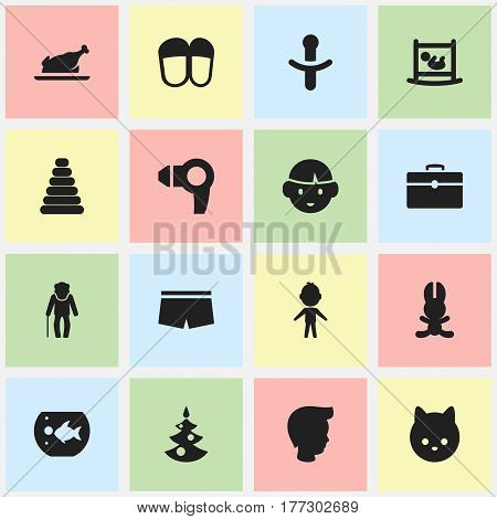 Set Of 16 Editable Kin Icons. Includes Symbols Such As Nipple, Son, Swimming Trunks And More. Can Be Used For Web, Mobile, UI And Infographic Design.