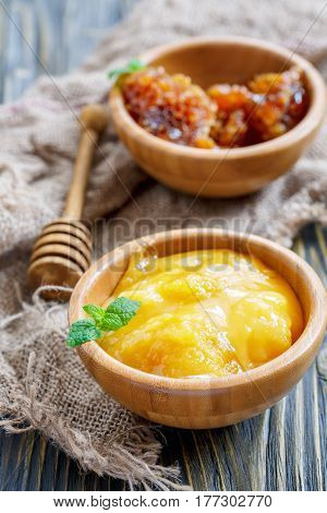 Flower Honey In Bowls And Honey Dipper.