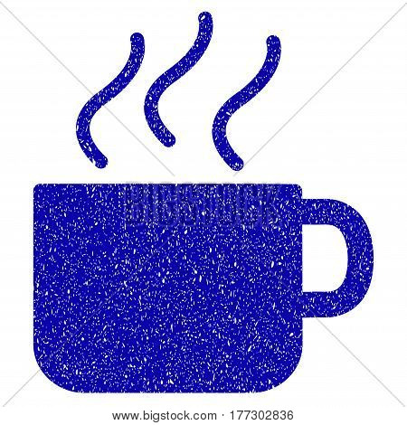 Grunge Coffee Cup rubber seal stamp watermark. Icon symbol with grunge design and dirty texture. Unclean vector blue sign.