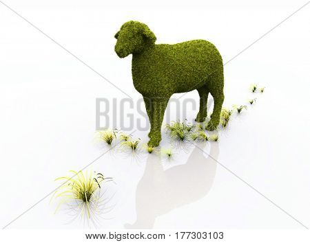 Green sheep on a white background.,3d render