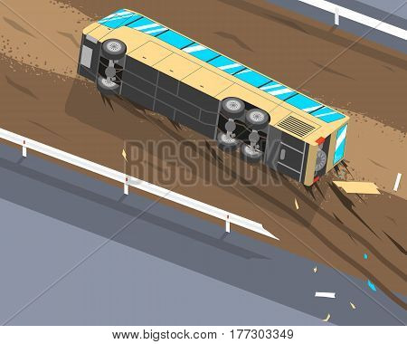 The driver of the passenger bus was tired and fell asleep at the wheel because of this the bus flew off the track and rolled over. Vector illustration