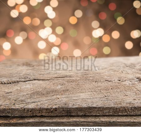 Empty Wooden Perspective Platform With Sparkling Abstract Rainbow Blur Bokeh Used As Template To Moc