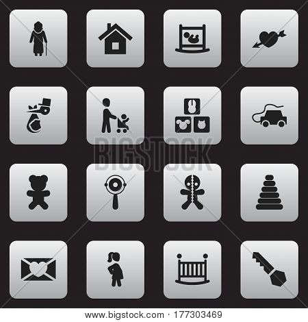 Set Of 16 Editable Kin Icons. Includes Symbols Such As Grandson, Toy, Wizard. Can Be Used For Web, Mobile, UI And Infographic Design.
