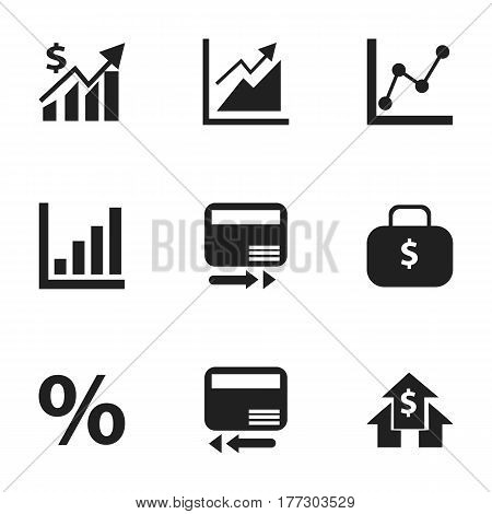 Set Of 9 Editable Analytics Icons. Includes Symbols Such As Revenue, Credit Card, Graph Information And More. Can Be Used For Web, Mobile, UI And Infographic Design.