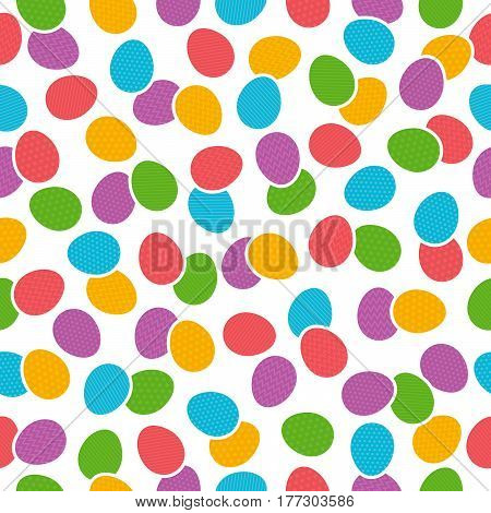 Seamless pattern with color easter eggs over white background. Ideal for printing onto fabric and paper or scrap booking vector illustration
