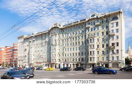 MOSCOW - AUGUST 19 2016: The Afremov building. This former revenue house built in 1904 was one of the first skyscrapers in the city.