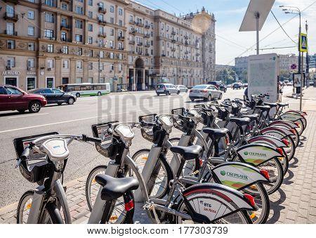MOSCOW - AUGUST 19 2016: Bicycle rental station on Sadovaya-Chernogryazskaya street. The pilot project of urban bike rental started in 2013.