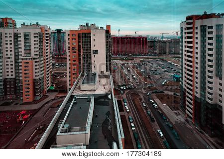 Multi storey houses of the big city in the daytime. Photo in the daytime.
