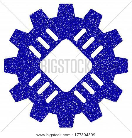 Grunge Hardware Gear rubber seal stamp watermark. Icon symbol with grunge design and unclean texture. Unclean vector blue sign.