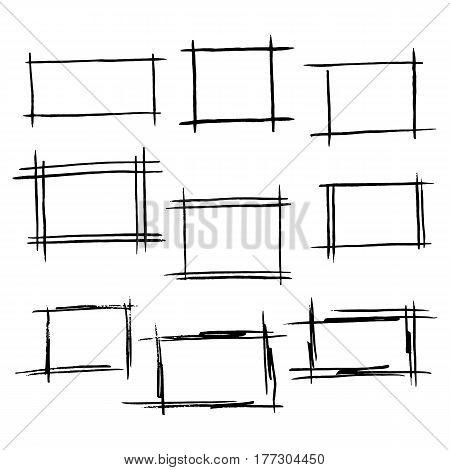 Vector  sketch set of hand drawn  border, rectangle frames.