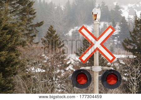 Railway crossing sign and signal lights detail