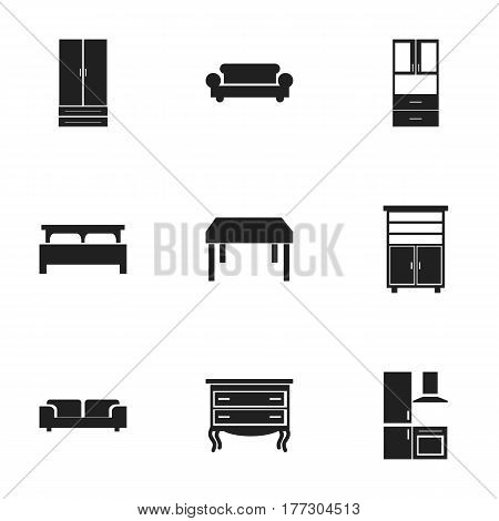 Set Of 9 Editable Interior Icons. Includes Symbols Such As Cuisine, Sofa, Commode And More. Can Be Used For Web, Mobile, UI And Infographic Design.