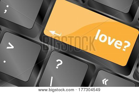 Love With Question Sign Button Word On Keyboard Keys