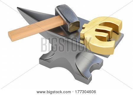 anvil with gold euro symbol 3D rendering isolated on white background