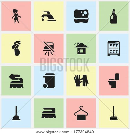 Set Of 16 Editable Cleaning Icons. Includes Symbols Such As Rubber Drain, Whisk, Washing Tool And More. Can Be Used For Web, Mobile, UI And Infographic Design.