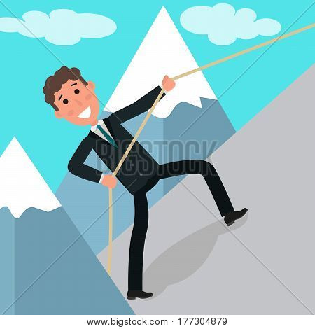 Concept of business challenge. Businessman or manager climbing on the rock. Young brave businessman climbing on the top of the mountain using rope. Vector flat design illustration. Square layout