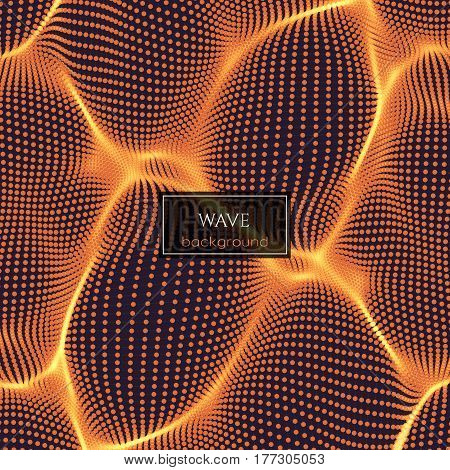 Wavy abstract background consists of dots and wireframe. Sound or physical wave. Cyberspace. Abstract background for science or electronic music theme design.