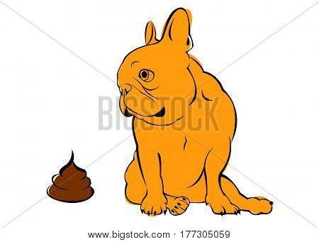 dog, vector, breed, cute, pet, animal, bulldog, french, go to the toilet, turd