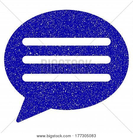 Grunge Message Cloud rubber seal stamp watermark. Icon symbol with grunge design and dirty texture. Unclean vector blue emblem.