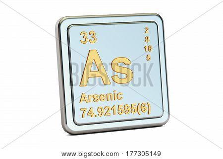 Arsenic As chemical element sign. 3D rendering isolated on white background