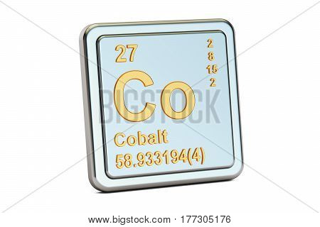 Cobalt Co chemical element sign. 3D rendering isolated on white background