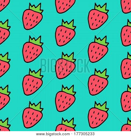 Sweet cartoon strawberry pattern with doodle berries. Cute vector colorful strawberry pattern. Seamless cheerful strawberry pattern for fabric, wallpapers, wrapping paper, cards and web backgrounds.