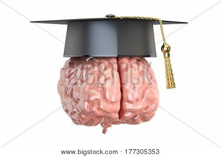 Education and graduation concept 3D rendering isolated on white background