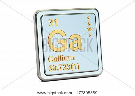 Gallium Ga chemical element sign. 3D rendering isolated on white background