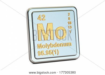 Molybdenum Mo chemical element sign. 3D rendering isolated on white background