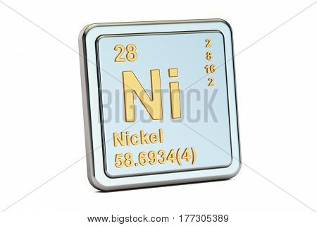 Nickel Ni chemical element sign. 3D rendering isolated on white background