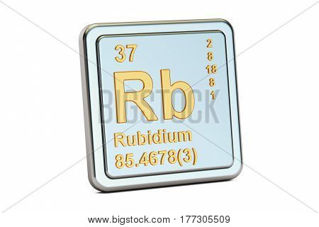 Rubidium Rb chemical element sign. 3D rendering isolated on white background