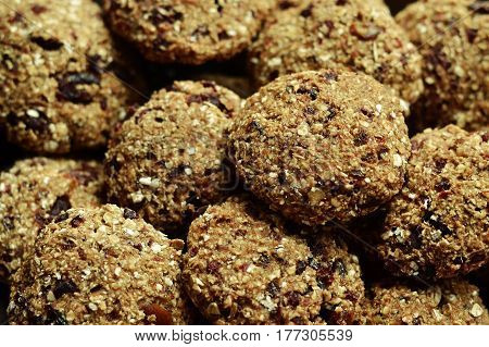 Applesauce oatmeal cookies with dried cranberries. Natural food healthy food