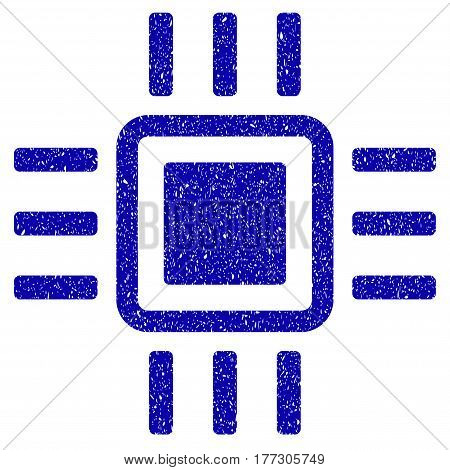 Grunge Processor rubber seal stamp watermark. Icon symbol with grunge design and unclean texture. Unclean vector blue emblem.