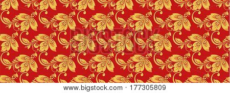 Hohloma seamless pattern, russian classic decor vector. Khokhloma background decoration in red and gold colors