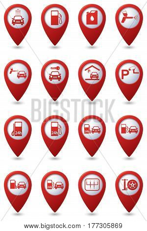 Car service and gas station icons on the map pointers. Vector illustration