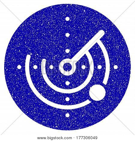 Grunge Radar rubber seal stamp watermark. Icon symbol with grunge design and scratched texture. Unclean vector blue sign.