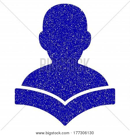 Grunge Reader Student rubber seal stamp watermark. Icon symbol with grunge design and dust texture. Unclean vector blue emblem.