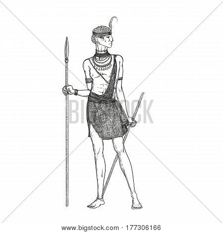 Vector sketch illustration on a white background. Armed with a spear warrior of the Masai tribe in traditional national clothes and jewelry. Indigenous African people living in Kenya and Tanzania