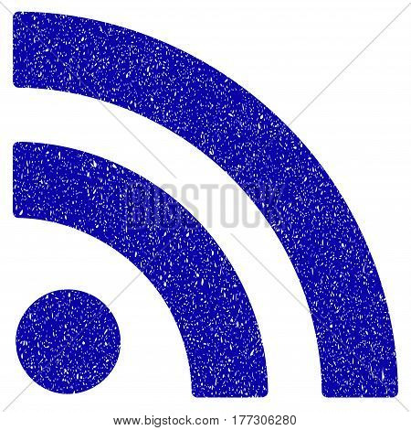 Grunge Rss rubber seal stamp watermark. Icon symbol with grunge design and unclean texture. Unclean vector blue emblem.