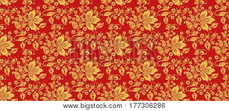 Hohloma seamless pattern background vector. Russian traditional decoration in red and gold colors