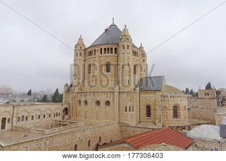 Jerusalem, Israel. - February 14.2017. Basilica Church of the Dormition on Mount Zion