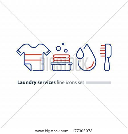 Laundry services, clean clothes, water and dry cleaning, stack of clothing in basket, water drop and brush vector line icons set