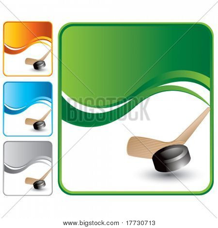 hockey stick and puck multicolored wave backgrounds