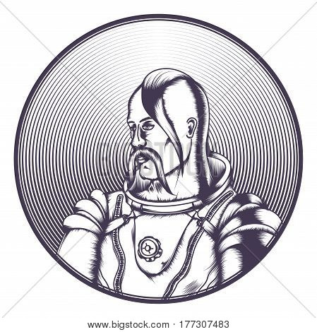 Contour Cossack in cosmonaut costume. In a round frame. On a white background.